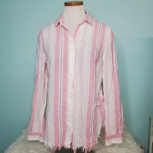 Beachlunchlounge striped button down top small